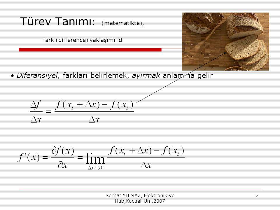 Serhat YILMAZ, Elektronik ve Hab,Kocaeli Ün.,2007 2 Türev Tanımı : (matematikte), fark (difference) yaklaşımı idi Diferansiyel, farkları belirlemek, ayırmak anlamına gelir