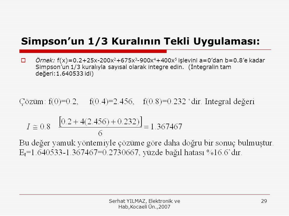 Serhat YILMAZ, Elektronik ve Hab,Kocaeli Ün.,2007 29 Simpson'un 1/3 Kuralının Tekli Uygulaması:  Örnek: f(x)=0.2+25x-200x 2 +675x 3 -900x 4 +400x 5 işlevini a=0'dan b=0.8'e kadar Simpson'un 1/3 kuralıyla sayısal olarak integre edin.