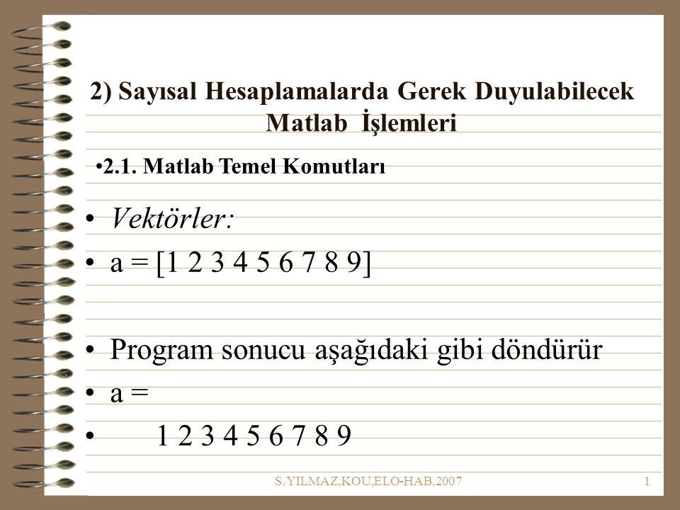 S.YILMAZ,KOU,ELO-HAB,20071 2) Sayısal Hesaplamalarda Gerek Duyulabilecek Matlab İşlemleri 2.1. Matlab Temel Komutları Vektörler: a = [1 2 3 4 5 6 7 8