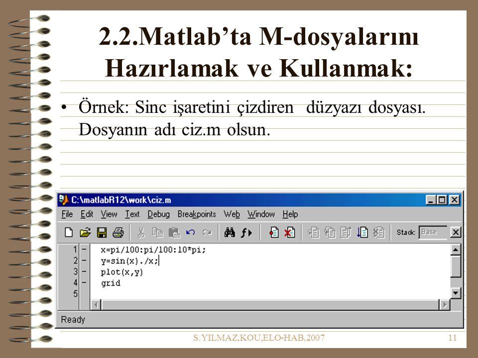 S.YILMAZ,KOU,ELO-HAB,200711 2.2.Matlab'ta M-dosyalarını Hazırlamak ve Kullanmak: Örnek: Sinc işaretini çizdiren düzyazı dosyası. Dosyanın adı ciz.m ol