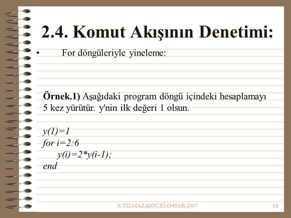 S.YILMAZ,KOU,ELO-HAB,200718 2.4. Komut Akışının Denetimi: For döngüleriyle yineleme: Örnek.1) Aşağıdaki program döngü içindeki hesaplamayı 5 kez yürüt