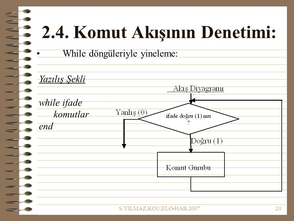 S.YILMAZ,KOU,ELO-HAB,200720 2.4. Komut Akışının Denetimi: While döngüleriyle yineleme: Yazılış Şekli while ifade komutlar end
