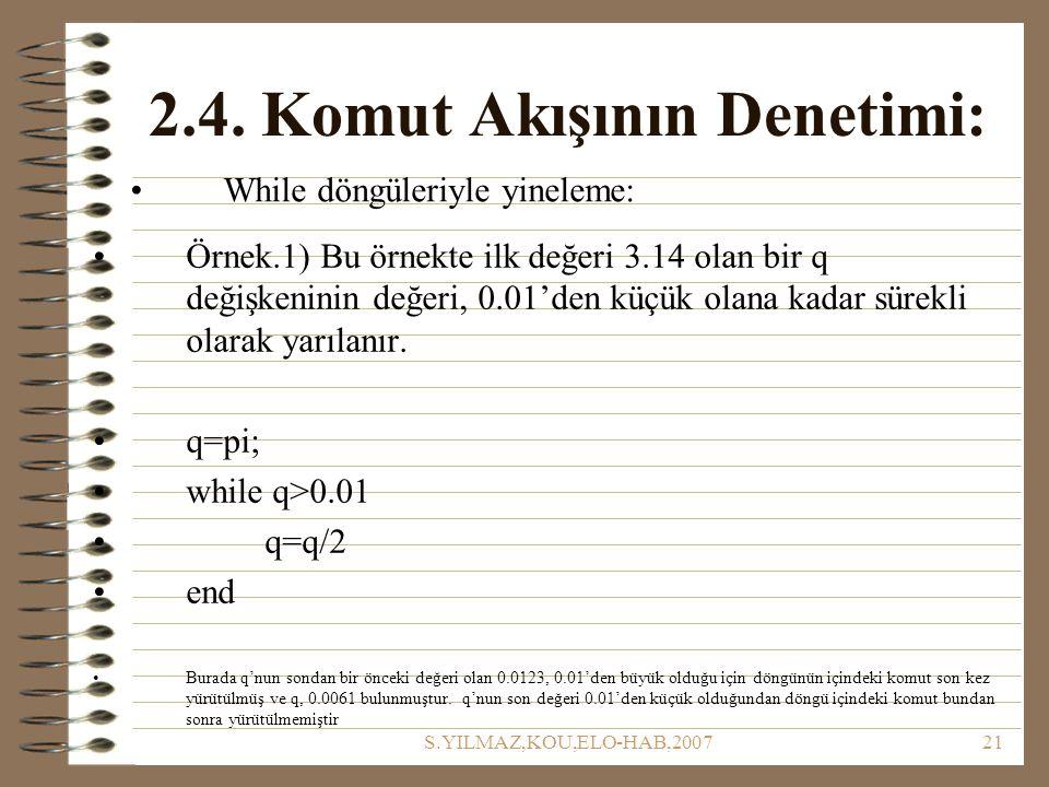 S.YILMAZ,KOU,ELO-HAB,200721 2.4. Komut Akışının Denetimi: Örnek.1) Bu örnekte ilk değeri 3.14 olan bir q değişkeninin değeri, 0.01'den küçük olana kad