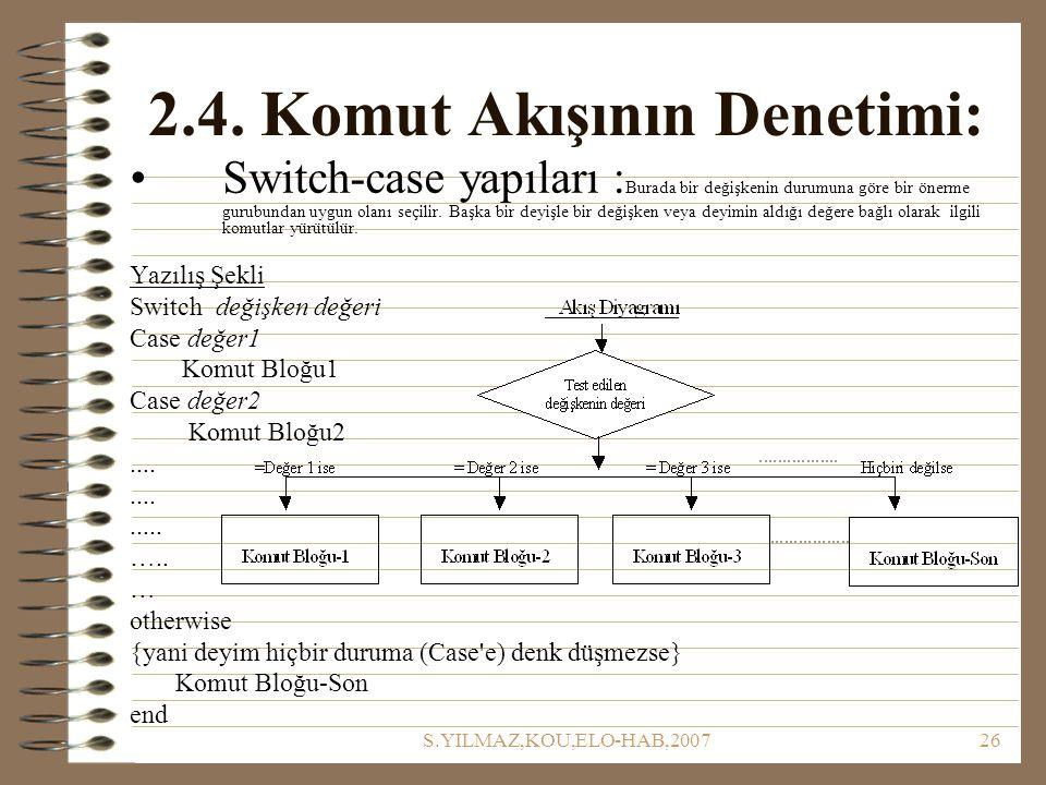 S.YILMAZ,KOU,ELO-HAB,200726 2.4. Komut Akışının Denetimi: Switch-case yapıları : Burada bir değişkenin durumuna göre bir önerme gurubundan uygun olanı