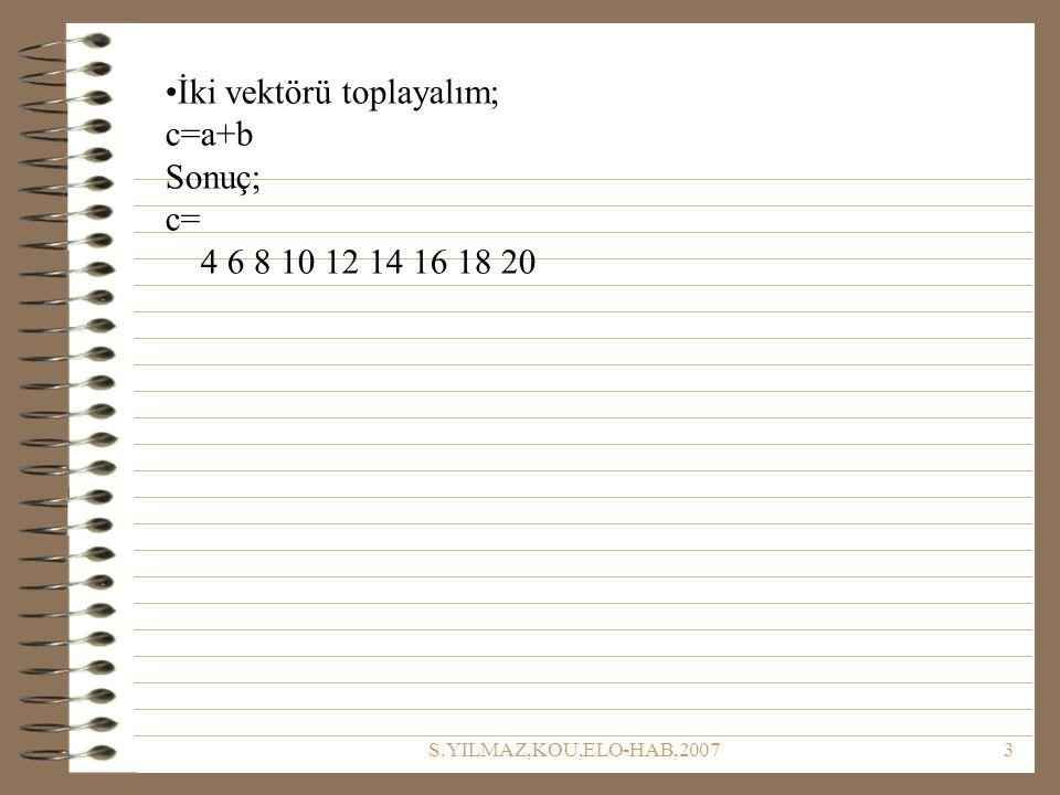 S.YILMAZ,KOU,ELO-HAB,20073 İki vektörü toplayalım; c=a+b Sonuç; c= 4 6 8 10 12 14 16 18 20