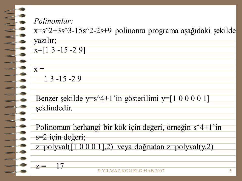 S.YILMAZ,KOU,ELO-HAB,20075 Polinomlar: x=s^2+3s^3-15s^2-2s+9 polinomu programa aşağıdaki şekilde yazılır; x=[1 3 -15 -2 9] x = 1 3 -15 -2 9 Benzer şekilde y=s^4+1'in gösterilimi y=[1 0 0 0 0 1] şeklindedir.