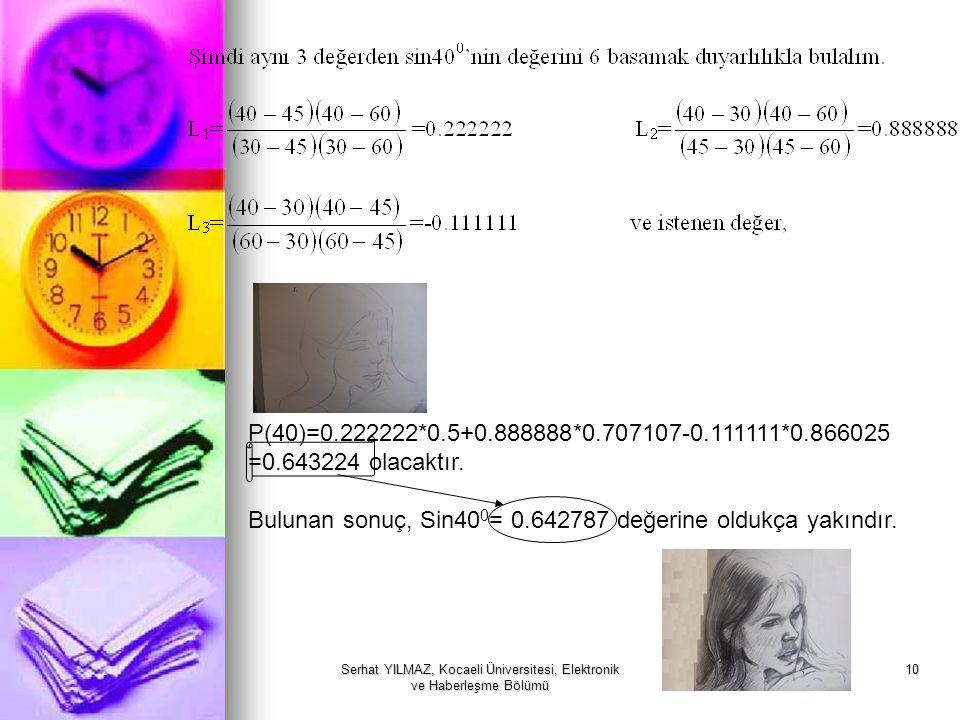 Serhat YILMAZ, Kocaeli Üniversitesi, Elektronik ve Haberleşme Bölümü 10 P(40)=0.222222*0.5+0.888888*0.707107-0.111111*0.866025 =0.643224 olacaktır. Bu