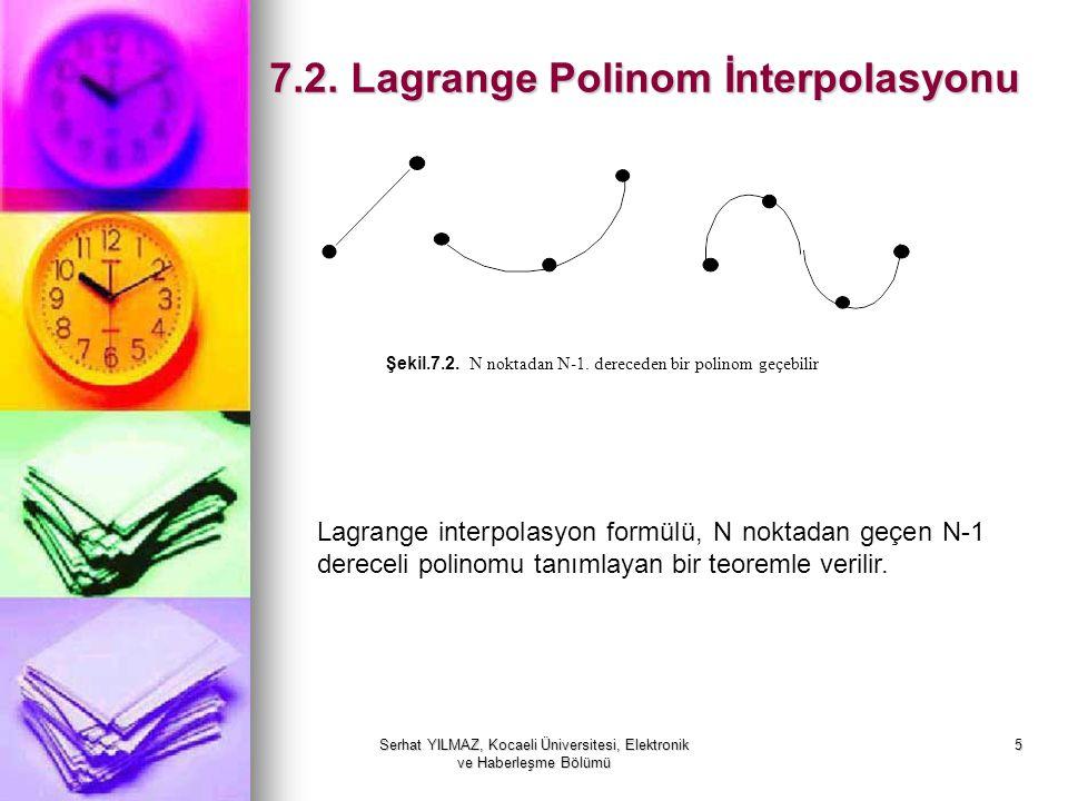 Serhat YILMAZ, Kocaeli Üniversitesi, Elektronik ve Haberleşme Bölümü 6 Teorem: Lagrange İnterpolasyon Polinomu Koordinatları (x1,y1),(x2,y2),.......(xN, yN) olan noktalar, derecesi en fazla N-1 olan, Koordinatları (x1,y1),(x2,y2),.......(xN, yN) olan noktalar, derecesi en fazla N-1 olan, tanımlar