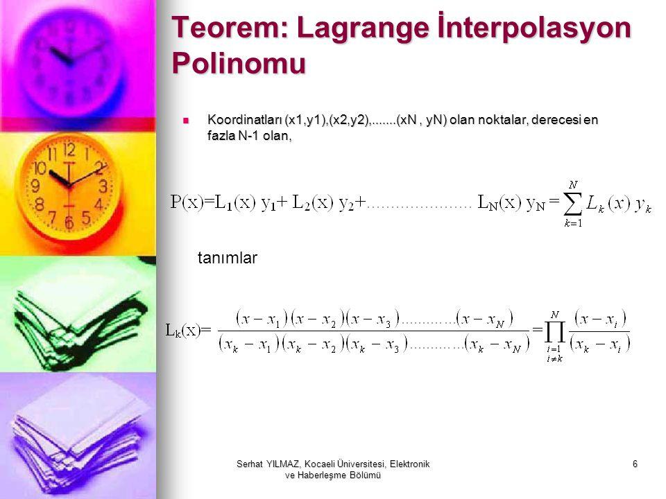 Serhat YILMAZ, Kocaeli Üniversitesi, Elektronik ve Haberleşme Bölümü 6 Teorem: Lagrange İnterpolasyon Polinomu Koordinatları (x1,y1),(x2,y2),.......(x