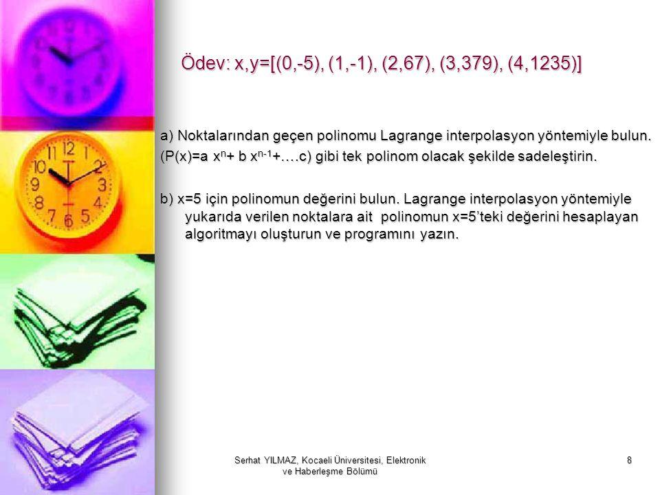 Serhat YILMAZ, Kocaeli Üniversitesi, Elektronik ve Haberleşme Bölümü 8 Ödev: x,y=[(0,-5), (1,-1), (2,67), (3,379), (4,1235)] a) Noktalarından geçen po