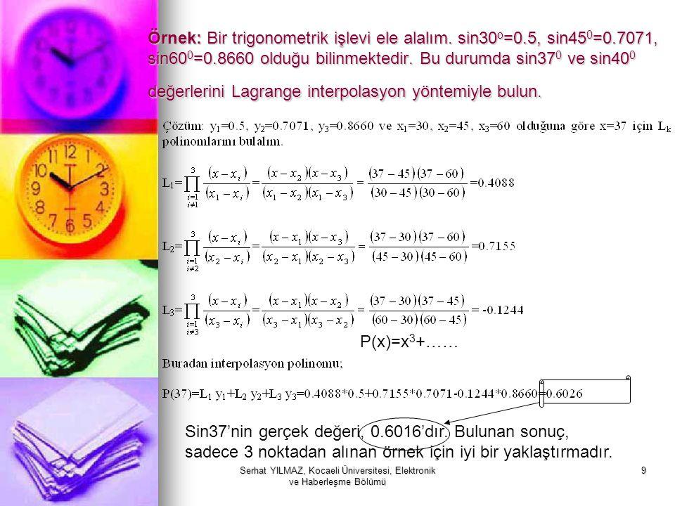 Serhat YILMAZ, Kocaeli Üniversitesi, Elektronik ve Haberleşme Bölümü 9 Örnek: Bir trigonometrik işlevi ele alalım. sin30 o =0.5, sin45 0 =0.7071, sin6