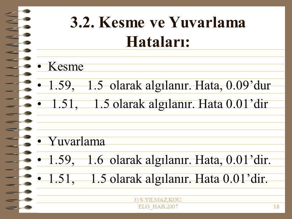 3) S.YILMAZ,KOU.ELO_HAB,200718 3.2. Kesme ve Yuvarlama Hataları: Kesme 1.59, 1.5 olarak algılanır.