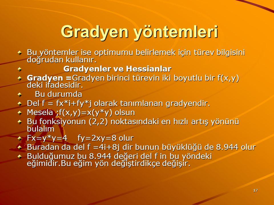 17 Gradyen yöntemleri Gradyen yöntemleri Bu yöntemler ise optimumu belirlemek için türev bilgisini doğrudan kullanır. Gradyenler ve Hessianlar Gradyen