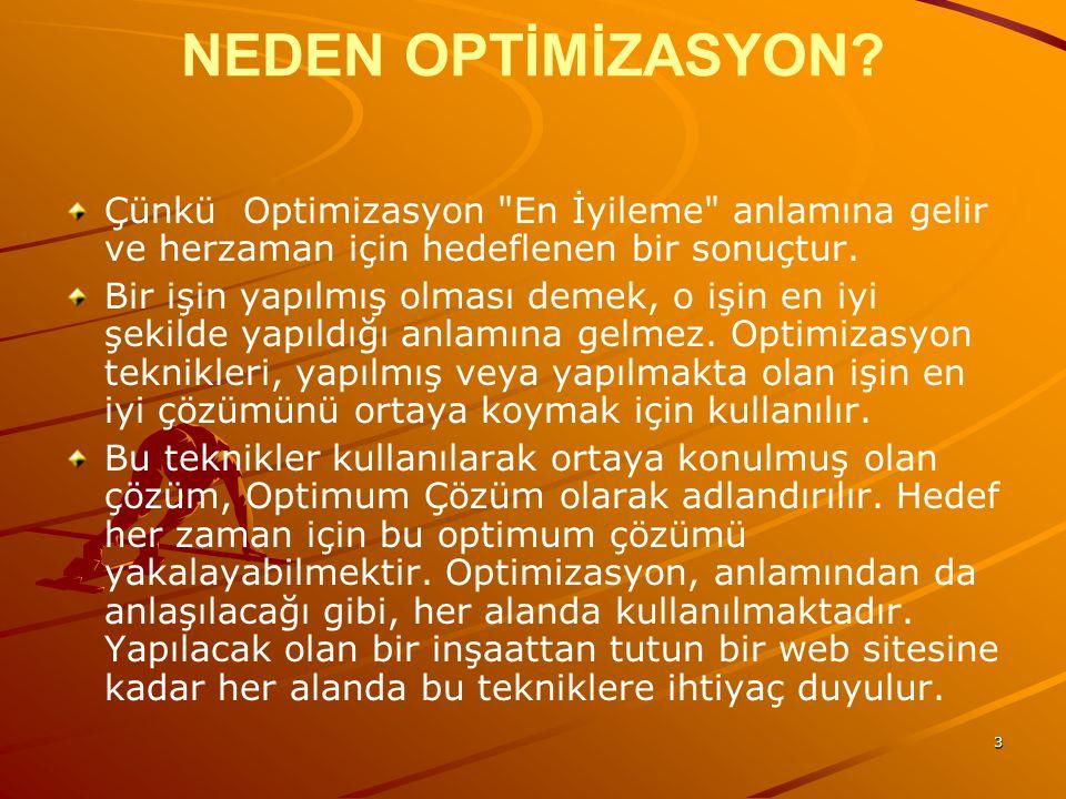 3 NEDEN OPTİMİZASYON.