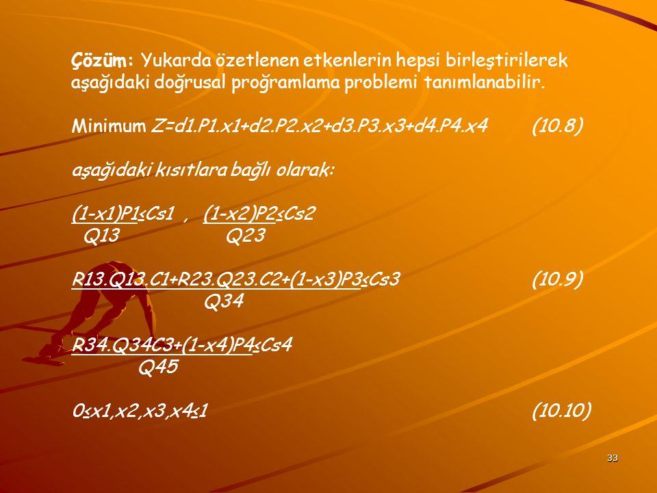 33 Çözüm: Yukarda özetlenen etkenlerin hepsi birleştirilerek aşağıdaki doğrusal proğramlama problemi tanımlanabilir. Minimum Z=d1.P1.x1+d2.P2.x2+d3.P3