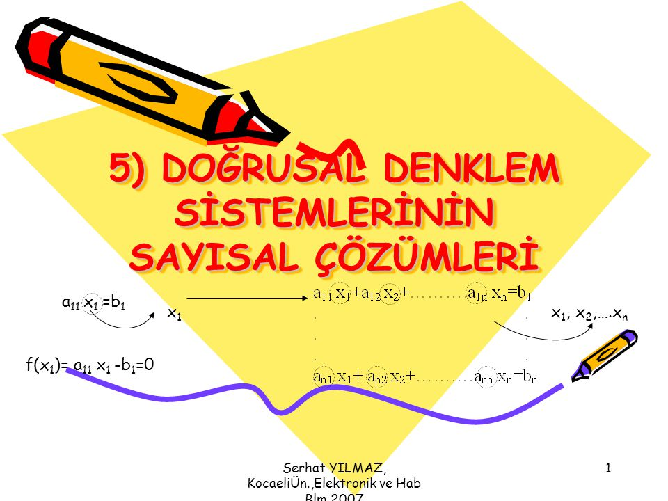 Serhat YILMAZ, KocaeliÜn.,Elektronik ve Hab Blm,2007 22 Geriye doğru bilinmeyenleri bulmak ve yerine koymak için Adım adım a 33 x 3 =b 3 x 3 = b 3 /a 33 x 3,, x 2, x 1 idi w MM x M =w MN xM=xM= (i=M-1, M-2, …..,1) w (M-1)(M-1) x M-1 +w (M-1)M x M =w (M-1)N x M-1 =