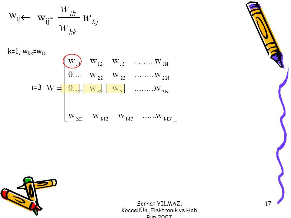 Serhat YILMAZ, KocaeliÜn.,Elektronik ve Hab Blm,2007 17 k=1, w kk =w 11 i=3 w ij w ij -