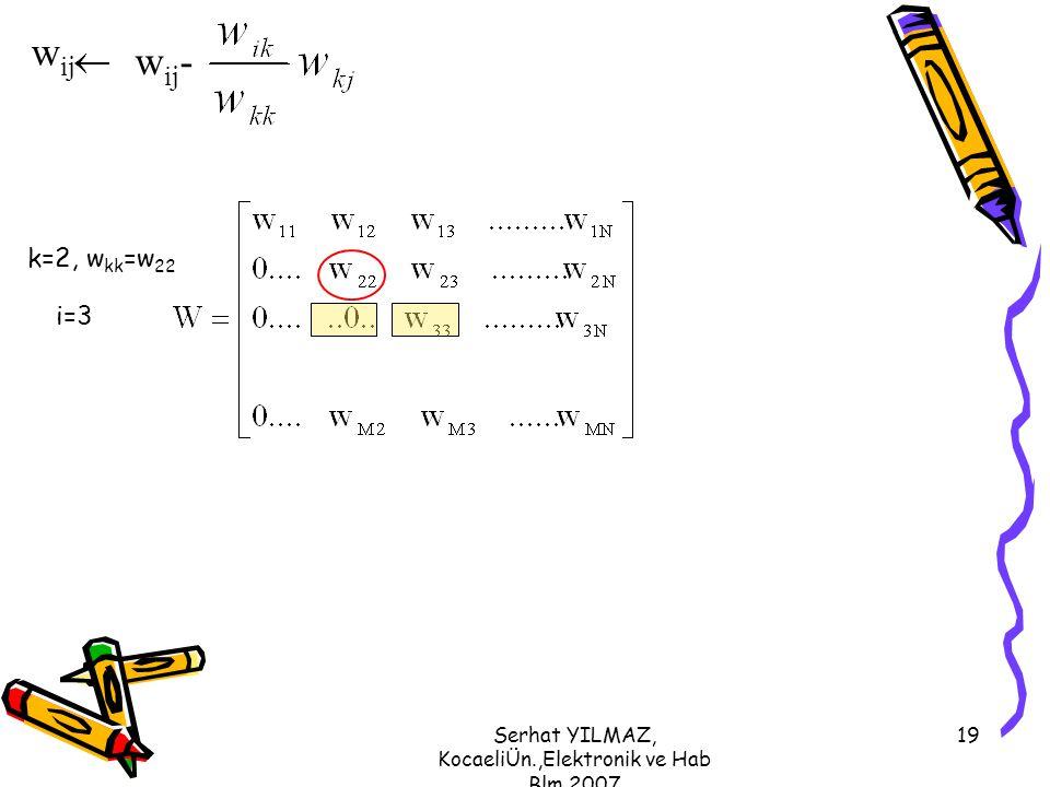 Serhat YILMAZ, KocaeliÜn.,Elektronik ve Hab Blm,2007 19 k=2, w kk =w 22 i=3 w ij w ij -