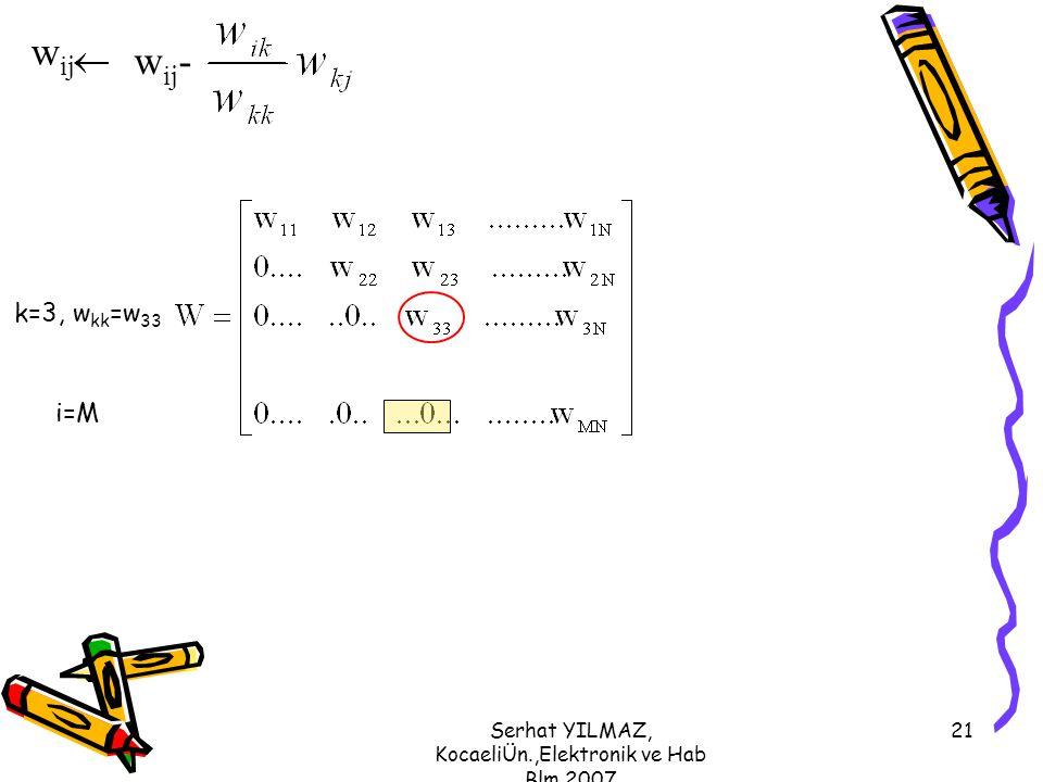 Serhat YILMAZ, KocaeliÜn.,Elektronik ve Hab Blm,2007 21 k=3, w kk =w 33 i=M w ij w ij -