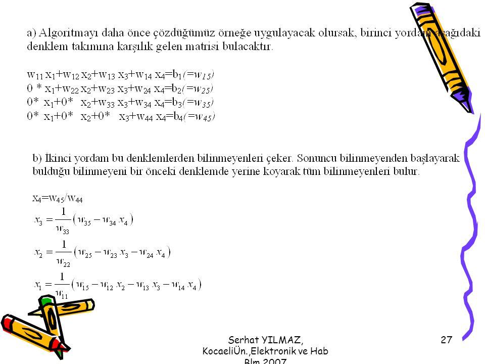 Serhat YILMAZ, KocaeliÜn.,Elektronik ve Hab Blm,2007 27