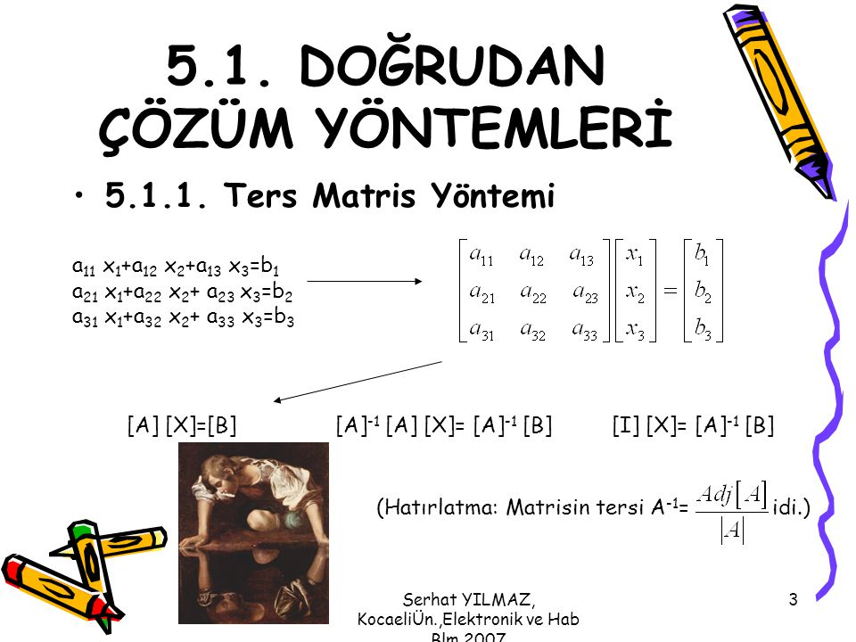 Serhat YILMAZ, KocaeliÜn.,Elektronik ve Hab Blm,2007 4 Örnek: Aşağıda verilen denklemlerde bilinmeyen olarak tanımlanan x 1, x 2 ve x 3 değerlerini ters matris yöntemini kullanarak bulunuz.