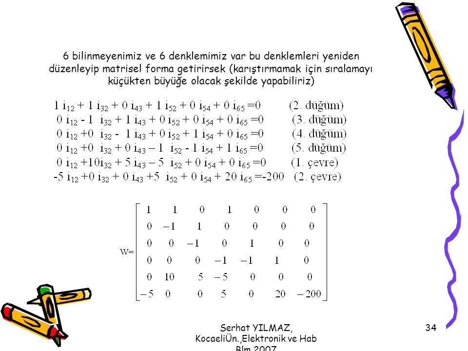 Serhat YILMAZ, KocaeliÜn.,Elektronik ve Hab Blm,2007 34 6 bilinmeyenimiz ve 6 denklemimiz var bu denklemleri yeniden düzenleyip matrisel forma getirir