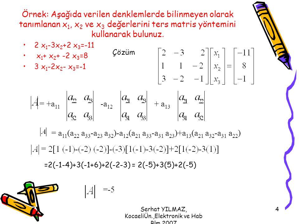 Serhat YILMAZ, KocaeliÜn.,Elektronik ve Hab Blm,2007 5 C(a ij ) =(-1) i+j M ij C(a 11 ) =(-1) 1+1 M 11 =(-1) 2 = (+1) ((1*-1)-(-2*-2))=-5 C(a ij ) =(-1) i+j M ij