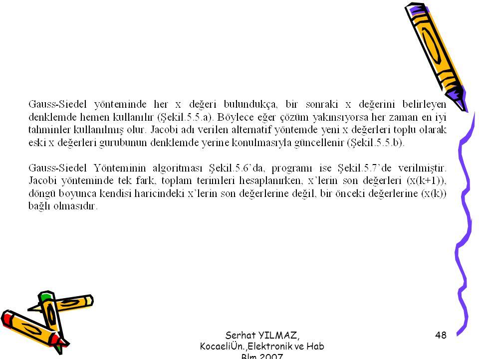 Serhat YILMAZ, KocaeliÜn.,Elektronik ve Hab Blm,2007 48