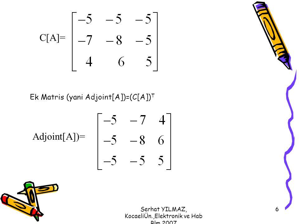 Serhat YILMAZ, KocaeliÜn.,Elektronik ve Hab Blm,2007 6 C[A]= Ek Matris (yani Adjoint[A])=(C[A]) T Adjoint[A])=