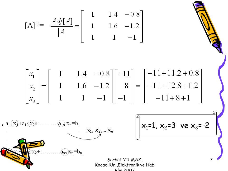 Serhat YILMAZ, KocaeliÜn.,Elektronik ve Hab Blm,2007 7 [A] -1 = = x 1 =1, x 2 =3 ve x 3 =-2 x 1, x 2,….x n