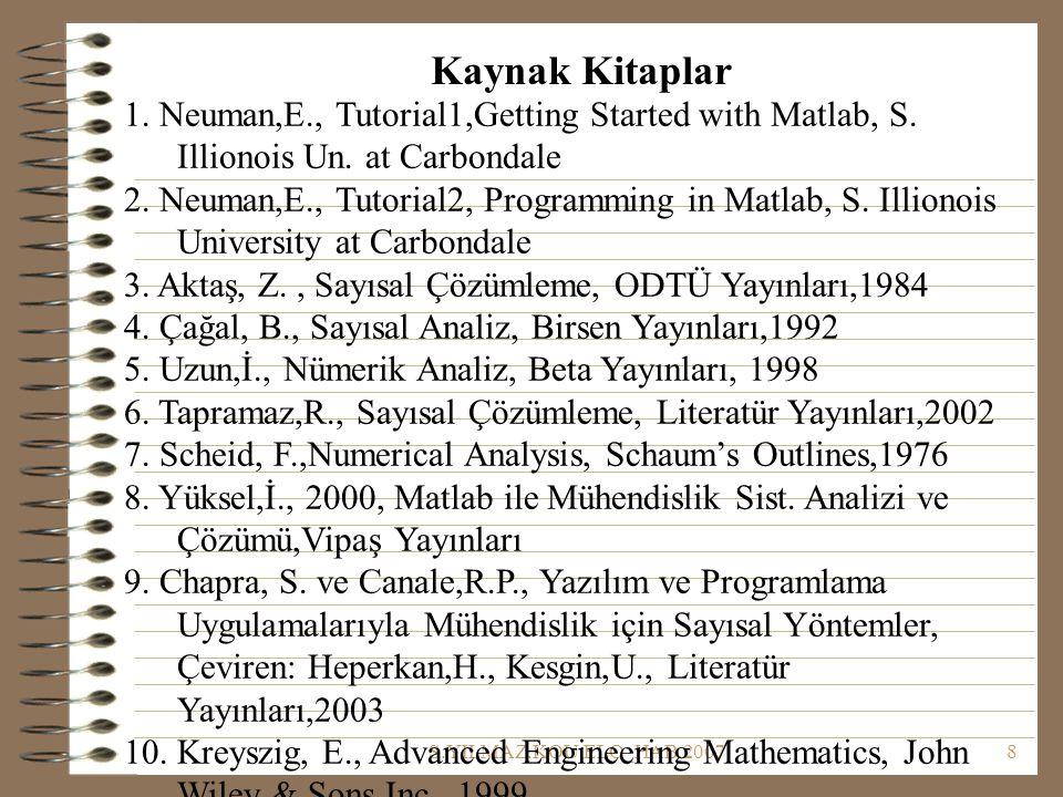 S.YILMAZ,KOU,ELO_HAB,20078 Kaynak Kitaplar 1. Neuman,E., Tutorial1,Getting Started with Matlab, S. Illionois Un. at Carbondale 2. Neuman,E., Tutorial2