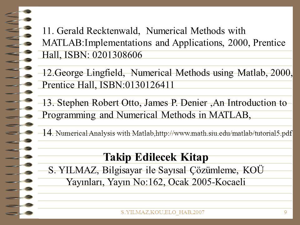 S.YILMAZ,KOU,ELO_HAB,200710 Dersle ilgili bilmeniz gerekenler Bu ders sonuçta Matlab veya herhangi bir programlama dersi değildir.