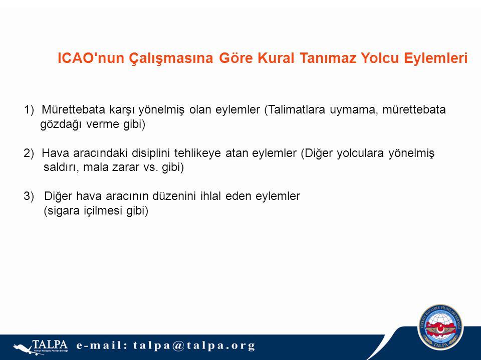ICAO nun Çalışmasına Göre Kural Tanımaz Yolcu Eylemleri 1)Mürettebata karşı yönelmiş olan eylemler (Talimatlara uymama, mürettebata gözdağı verme gibi) 2)Hava aracındaki disiplini tehlikeye atan eylemler (Diğer yolculara yönelmiş saldırı, mala zarar vs.