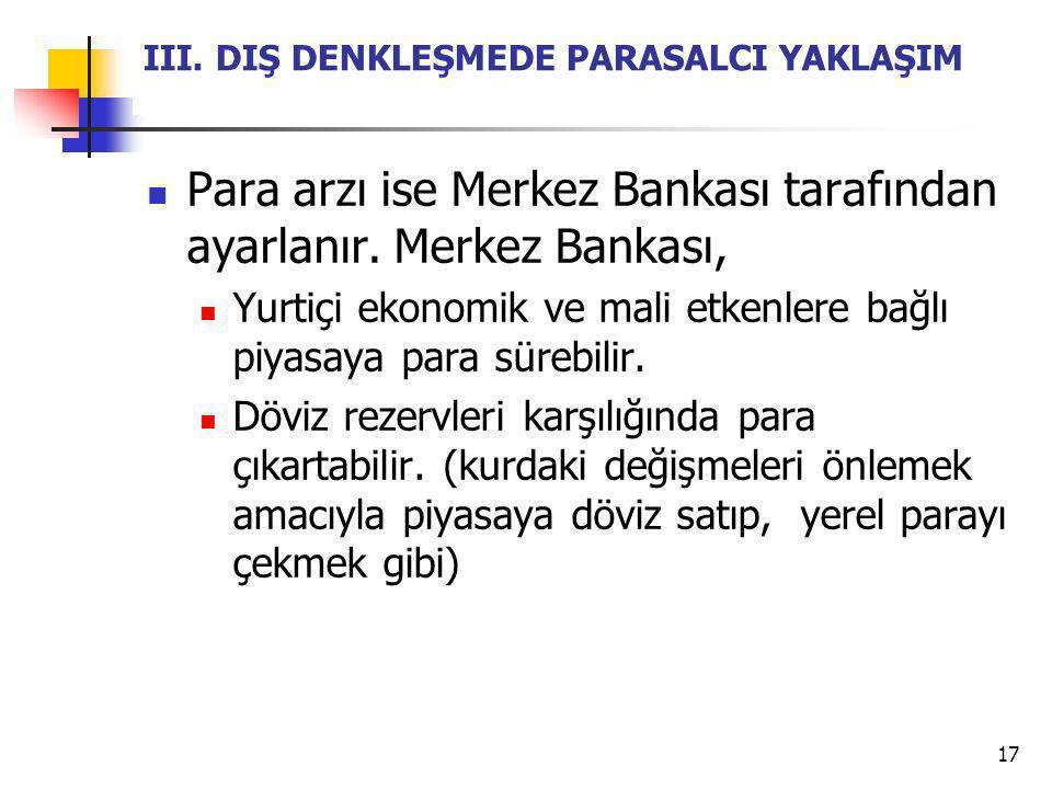 17 III. DIŞ DENKLEŞMEDE PARASALCI YAKLAŞIM Para arzı ise Merkez Bankası tarafından ayarlanır. Merkez Bankası, Yurtiçi ekonomik ve mali etkenlere bağlı