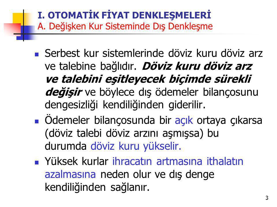 4 I.OTOMATİK FİYAT DENKLEŞMELERİ A.