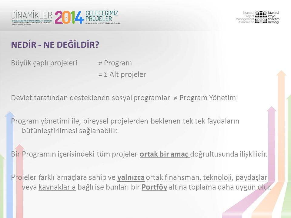 Büyük çaplı projeleri ≠ Program = Σ Alt projeler Devlet tarafından desteklenen sosyal programlar ≠ Program Yönetimi Program yönetimi ile, bireysel pro