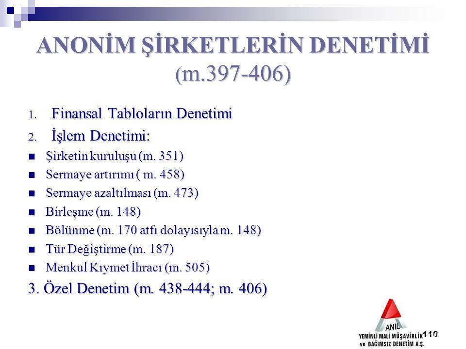 110 ANONİM ŞİRKETLERİN DENETİMİ ( m.397-406) 1. Finansal Tabloların Denetimi 2. İşlem Denetimi: Şirketin kuruluşu (m. 351) Şirketin kuruluşu (m. 351)