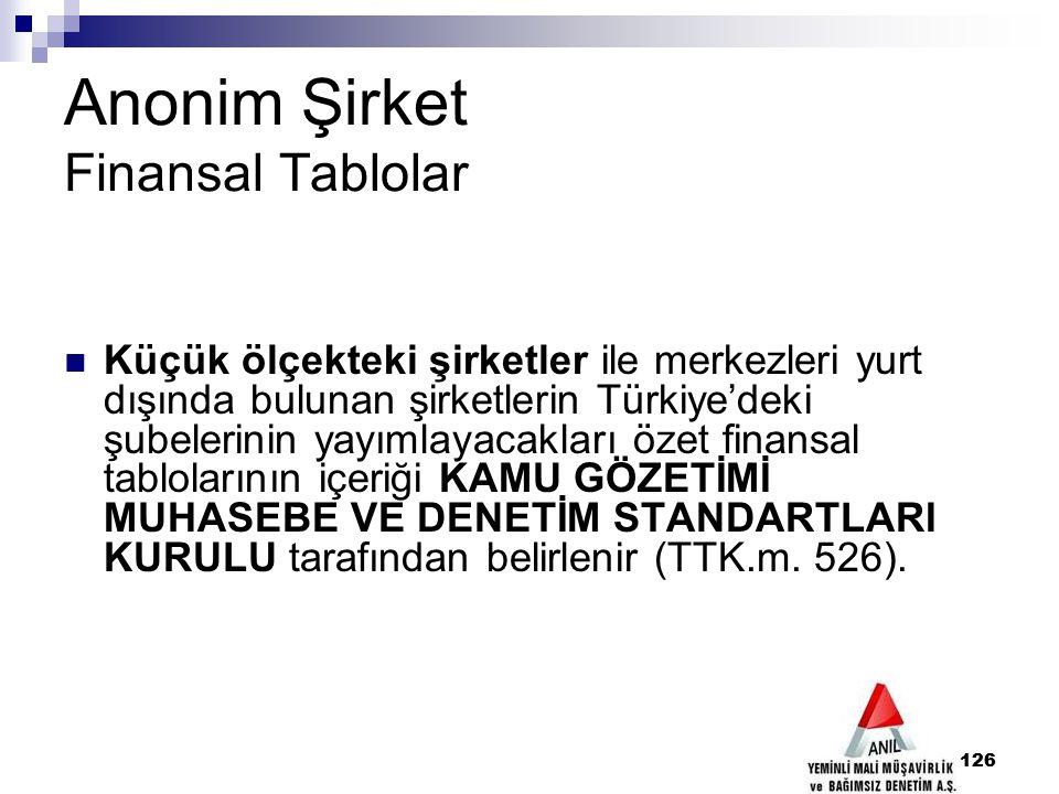 126 Anonim Şirket Finansal Tablolar Küçük ölçekteki şirketler ile merkezleri yurt dışında bulunan şirketlerin Türkiye'deki şubelerinin yayımlayacaklar