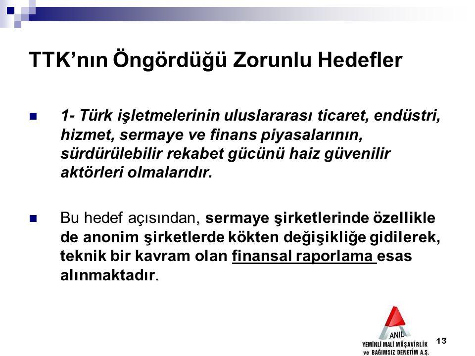13 TTK'nın Öngördüğü Zorunlu Hedefler 1- Türk işletmelerinin uluslararası ticaret, endüstri, hizmet, sermaye ve finans piyasalarının, sürdürülebilir r