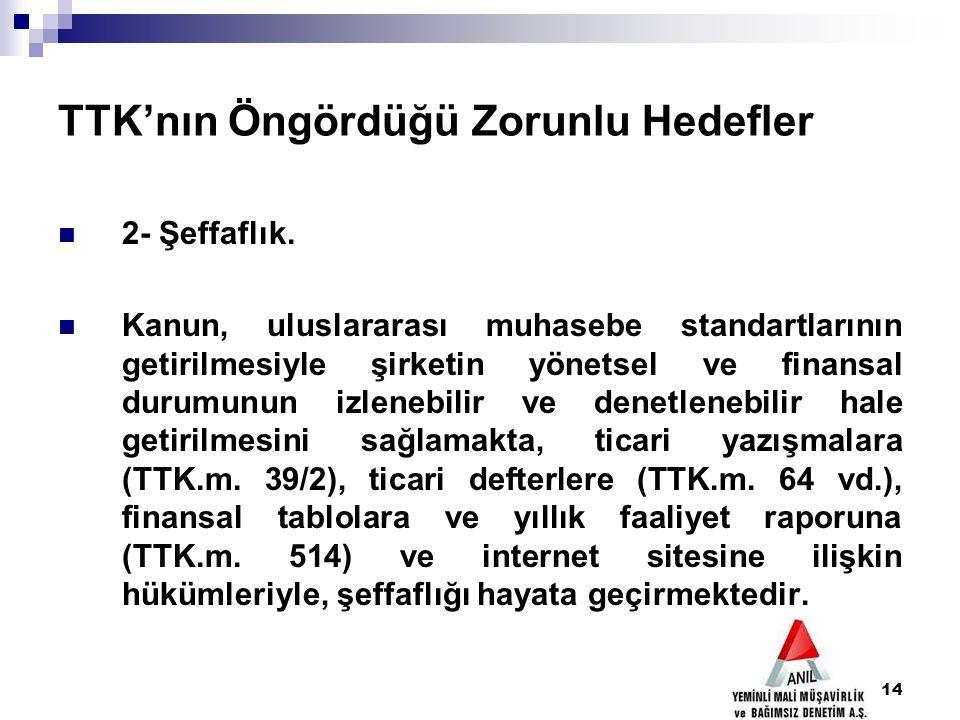 14 TTK'nın Öngördüğü Zorunlu Hedefler 2- Şeffaflık. Kanun, uluslararası muhasebe standartlarının getirilmesiyle şirketin yönetsel ve finansal durumunu
