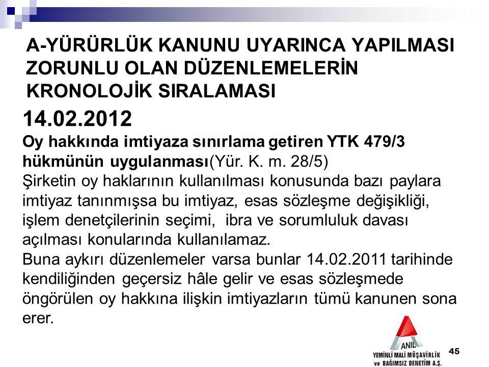 A-YÜRÜRLÜK KANUNU UYARINCA YAPILMASI ZORUNLU OLAN DÜZENLEMELERİN KRONOLOJİK SIRALAMASI 45 14.02.2012 Oy hakkında imtiyaza sınırlama getiren YTK 479/3