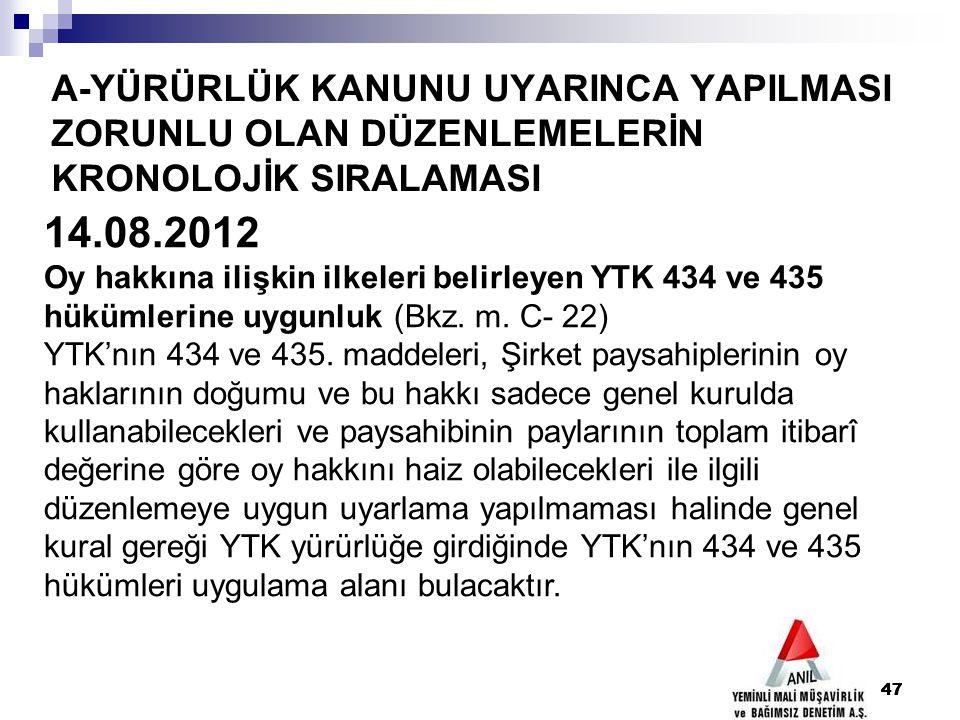 47 A-YÜRÜRLÜK KANUNU UYARINCA YAPILMASI ZORUNLU OLAN DÜZENLEMELERİN KRONOLOJİK SIRALAMASI 47 14.08.2012 Oy hakkına ilişkin ilkeleri belirleyen YTK 434