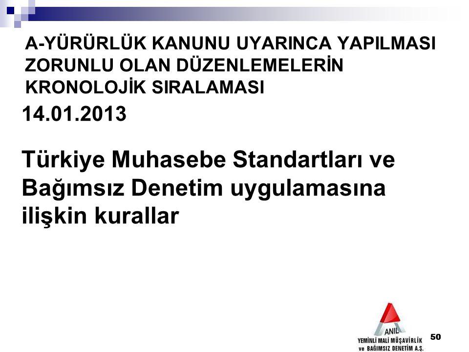 50 A-YÜRÜRLÜK KANUNU UYARINCA YAPILMASI ZORUNLU OLAN DÜZENLEMELERİN KRONOLOJİK SIRALAMASI 50 14.01.2013 Türkiye Muhasebe Standartları ve Bağımsız Dene