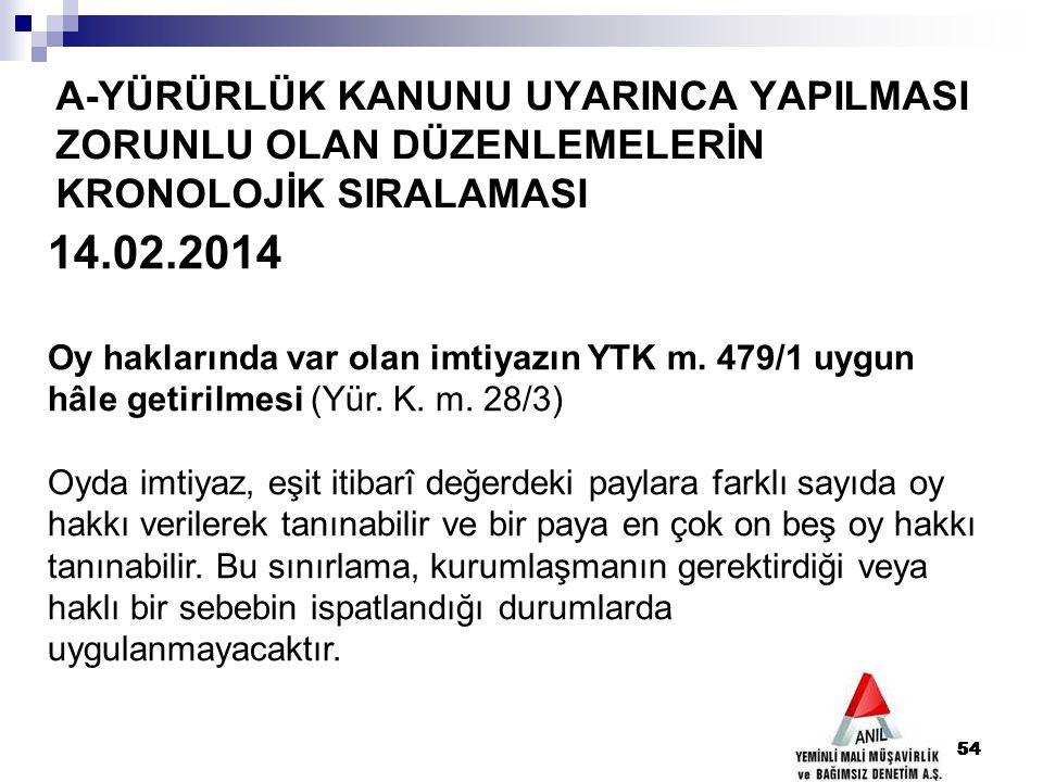 54 A-YÜRÜRLÜK KANUNU UYARINCA YAPILMASI ZORUNLU OLAN DÜZENLEMELERİN KRONOLOJİK SIRALAMASI 54 14.02.2014 Oy haklarında var olan imtiyazın YTK m. 479/1