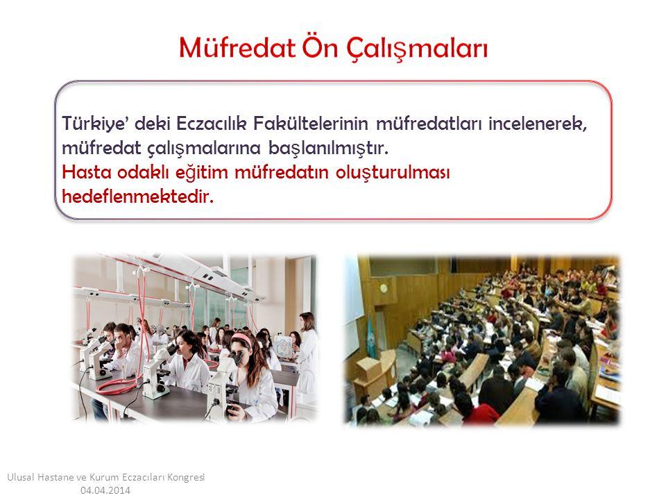 Türkiye' deki Eczacılık Fakültelerinin müfredatları incelenerek, müfredat çalı ş malarına ba ş lanılmı ş tır. Hasta odaklı e ğ itim müfredatın olu ş t