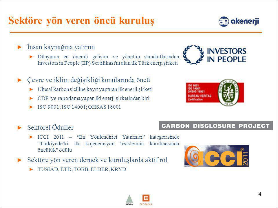 4 ► İnsan kaynağına yatırım ► Dünyanın en önemli gelişim ve yönetim standartlarından Investors in People (IIP) Sertifikası'nı alan ilk Türk enerji şir