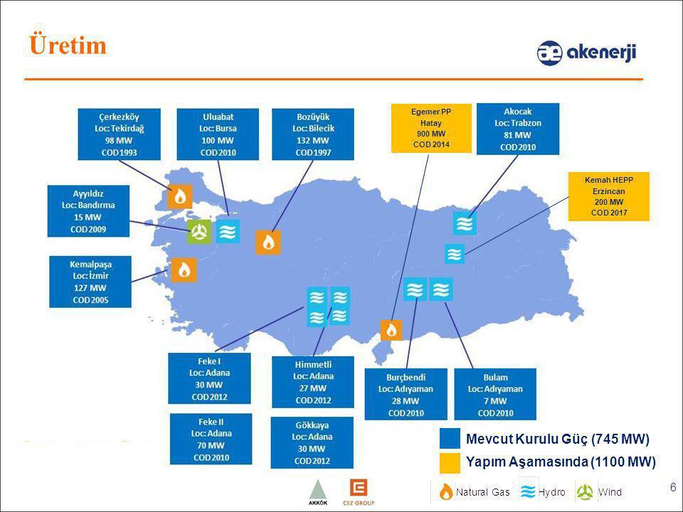 6 Egemer PP Hatay 900 MW COD 2014 Kemah HEPP Erzincan 200 MW COD 2017 Mevcut Kurulu Güç (745 MW) Yapım Aşamasında (1100 MW) Üretim
