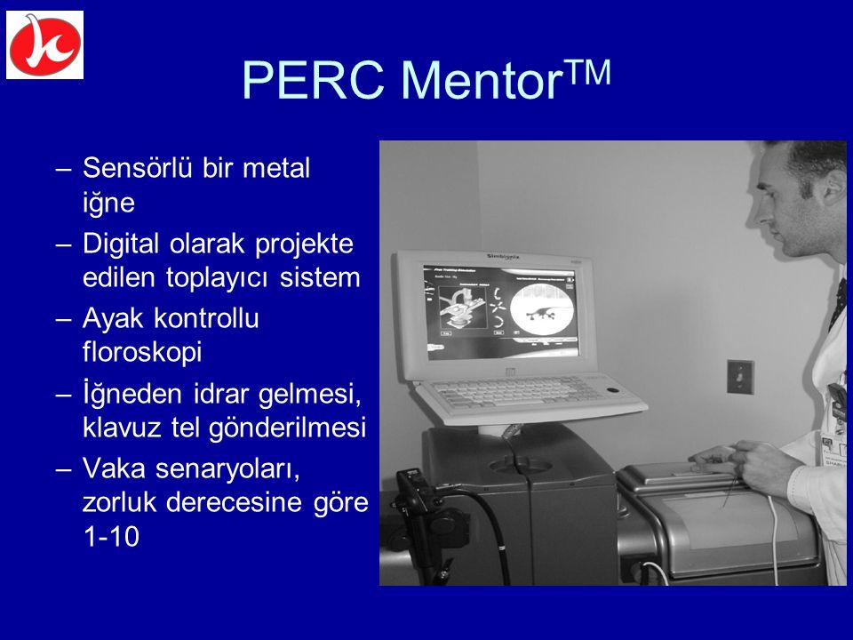 PERC Mentor TM –Sensörlü bir metal iğne –Digital olarak projekte edilen toplayıcı sistem –Ayak kontrollu floroskopi –İğneden idrar gelmesi, klavuz tel