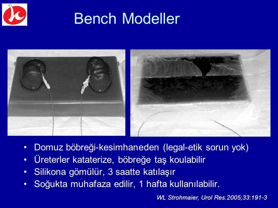 Bench Modeller Domuz böbreği-kesimhaneden (legal-etik sorun yok) Üreterler kataterize, böbreğe taş koulabilir Silikona gömülür, 3 saatte katılaşır Soğ
