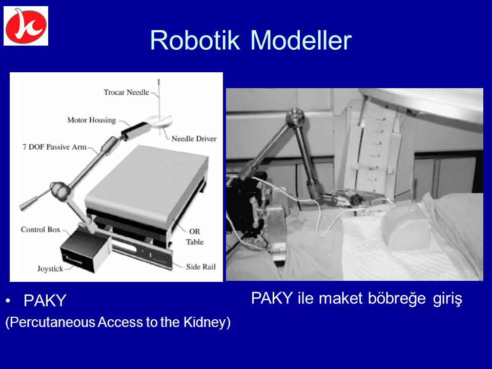 Robotik Modeller PAKY (Percutaneous Access to the Kidney) PAKY ile maket böbreğe giriş